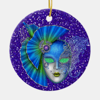 Mardi Gras - Masquerade - SRF Round Ceramic Decoration