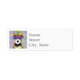 Mardi Gras Mini Schnauzer Return Address Label