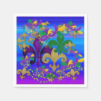 Mardi Gras Napkins Disposable Serviettes