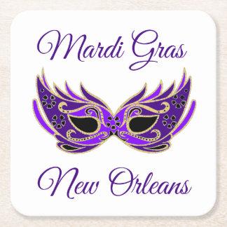 Mardi Gras New Orleans Mask Square Paper Coaster