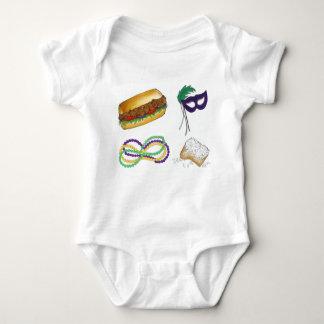 Mardi Gras NOLA New Orleans Mask Beads Beignet Baby Bodysuit