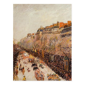 Mardi Gras on the Boulevards by Camille Pissarro Postcard