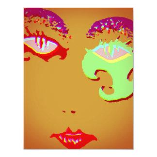 "Mardi Gras Party Celebration Make-up Party Invites 4.25"" X 5.5"" Invitation Card"