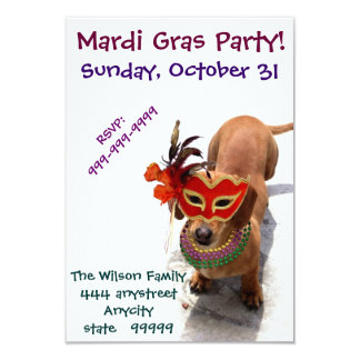 Mardi Gras Party Dachshund dog invitation