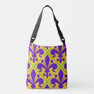 Mardi Gras Party New Orleans Fleur de Lis Crossbody Bag