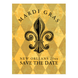 Mardi Gras Party Save the Date Postcard