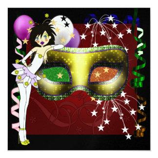 Mardi Gras - Party - SRf 13 Cm X 13 Cm Square Invitation Card