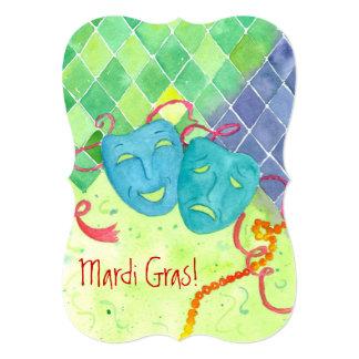 Mardi Gras Party Tragedy Comedy Masks Card