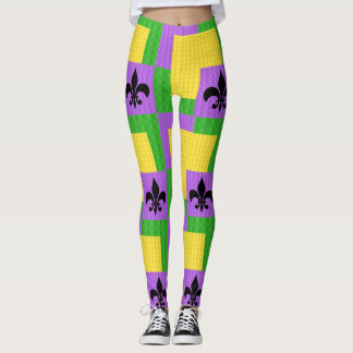 Mardi Gras Patterned Leggings With Fleur De Lis