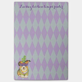 Mardi Gras Pembroke Welsh Corgi Post-it® Notes