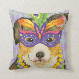 Mardi Gras Pembroke Welsh Corgi Throw Pillow