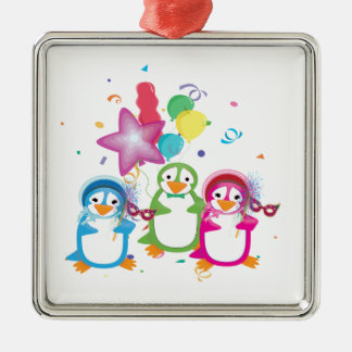 Mardi Gras Penguins Ornament