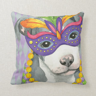 Mardi Gras Pit Bull Terrier Throw Pillow
