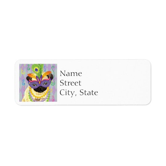 Mardi Gras Pug Return Address Label