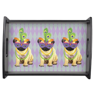 Mardi Gras Pug Serving Tray