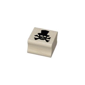 Mardi Gras skull crossbones silhouette art stamp