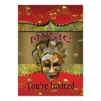 "Mardi Gras Smiling Mask Metallic Music Notes 5"" X 7"" Invitation Card"