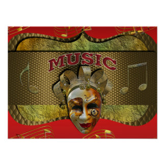 Mardi Gras Smiling Mask Metallic Music Notes Poster