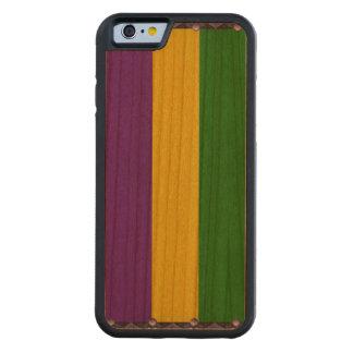Mardi Gras Striped Pattern Carved Cherry iPhone 6 Bumper Case
