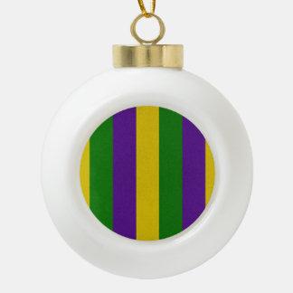 Mardi Gras Striped Pattern Ceramic Ball Christmas Ornament