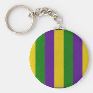 Mardi Gras Striped Pattern Key Ring