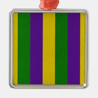 Mardi Gras Striped Pattern Metal Ornament