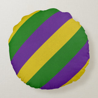 Mardi Gras Striped Pattern Round Cushion