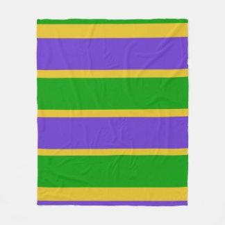 Mardi Gras Stripes Colors Fleece Blanket