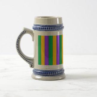 Mardi Gras Stripes Pattern Green Yellow Purple Beer Stein