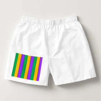 Mardi Gras Stripes Pattern Green Yellow Purple Boxers
