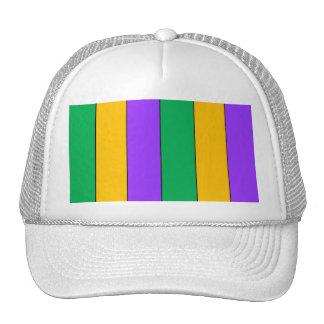 Mardi Gras Stripes Pattern Green Yellow Purple Cap