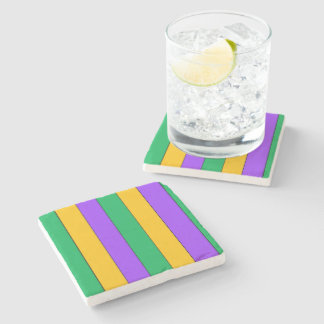 Mardi Gras Stripes Pattern Green Yellow Purple Stone Coaster