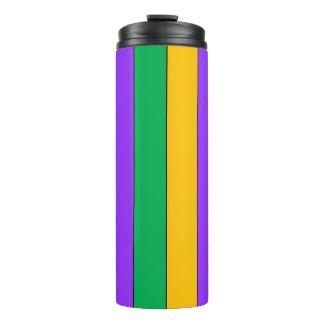 Mardi Gras Stripes Pattern Green Yellow Purple Thermal Tumbler
