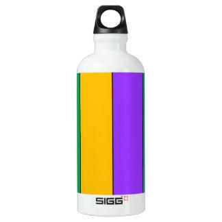 Mardi Gras Stripes Pattern Green Yellow Purple Water Bottle