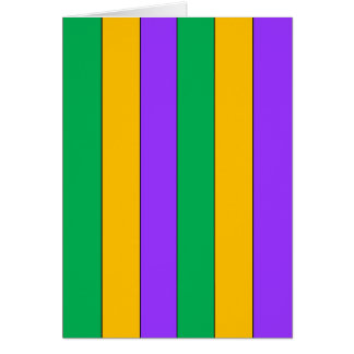 Mardi Gras Stripes Pattern Purple Green Yellow Card