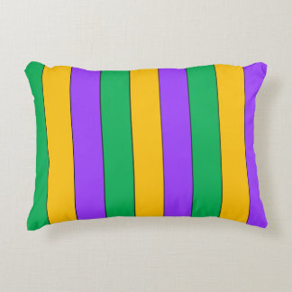 Mardi Gras Stripes Pattern Purple Green Yellow Decorative Cushion