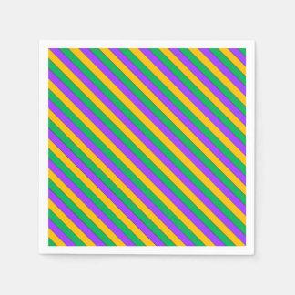 Mardi Gras Stripes Pattern Purple Green Yellow Disposable Napkins