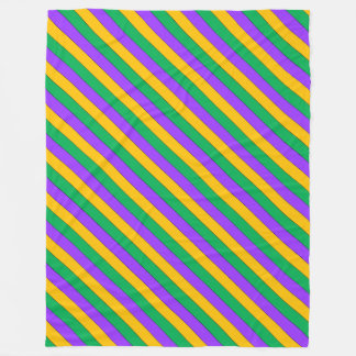 Mardi Gras Stripes Pattern Purple Green Yellow Fleece Blanket