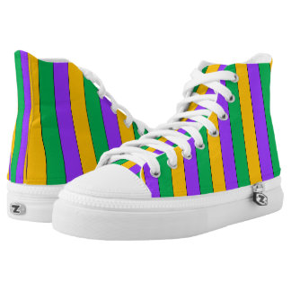 Mardi Gras Stripes Pattern Purple Green Yellow High Tops