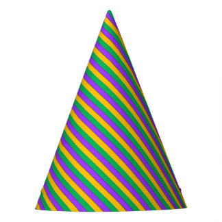 Mardi Gras Stripes Pattern Purple Green Yellow Party Hat