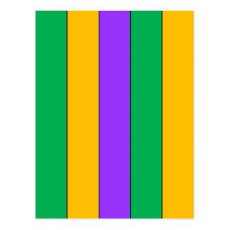Mardi Gras Stripes Pattern Purple Green Yellow Postcard