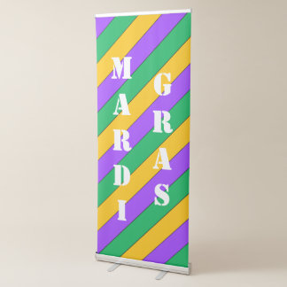 Mardi Gras Stripes Pattern Purple Green Yellow Retractable Banner