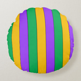 Mardi Gras Stripes Pattern Purple Green Yellow Round Cushion