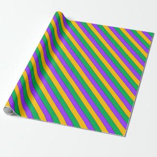 Mardi Gras Stripes Pattern Purple Green Yellow Wrapping Paper