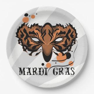 "MARDI GRAS TIGER CARTOON  Paper Plates 9"""