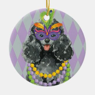 Mardi Gras Toy Poodle Ceramic Ornament