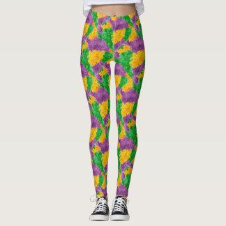 Mardi Gras Watercolor Pointillize Camouflage Leggings