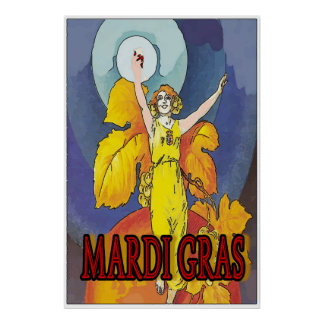 Mardi Gras Wine Maid Poster
