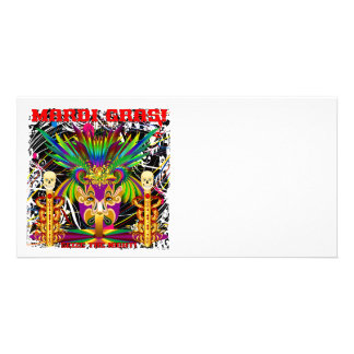 Mardi Gras Witch Doctor-Skull V-3-T Customized Photo Card