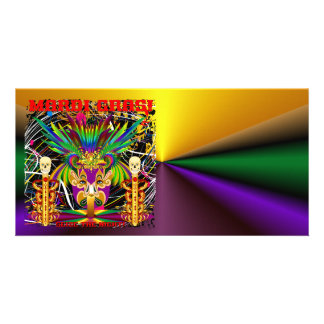 Mardi Gras Witch Doctor-Skull V-3-T Photo Greeting Card
